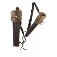 BUCK TRAIL carquois dorsal BIG HUSK BROWN OILY LEATHER AVEC FOURRURE 51cm